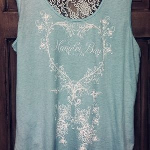 Tops - Light turquoise shirt.  All-lace back.